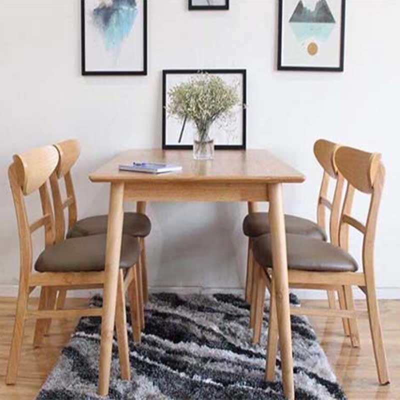Bộ bàn ăn 4 ghế cho chung cư gỗ cao su BA286