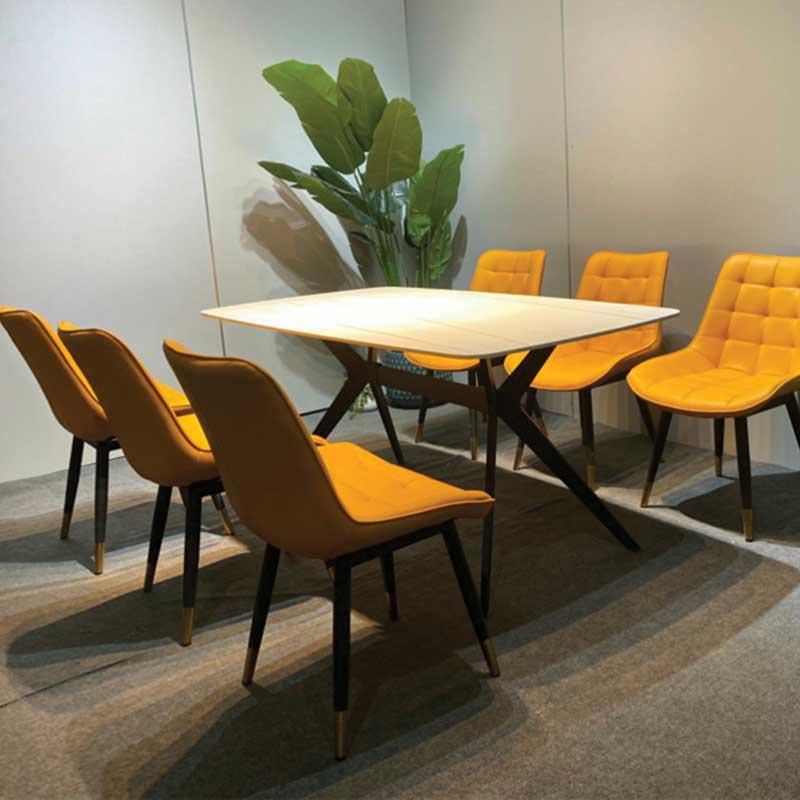 Bộ bàn ăn 6 ghế bọc da mặt bàn đá Ceramic nhập khẩu BA255