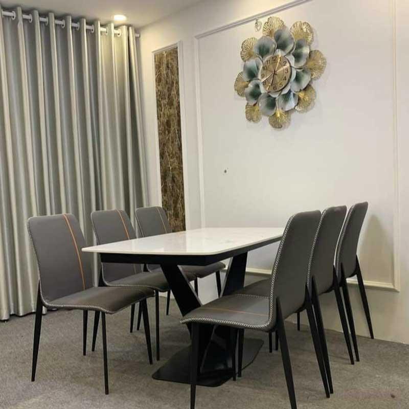 Bộ bàn ăn 6 ghế mặt đá vân mây ghế bọc da BA299