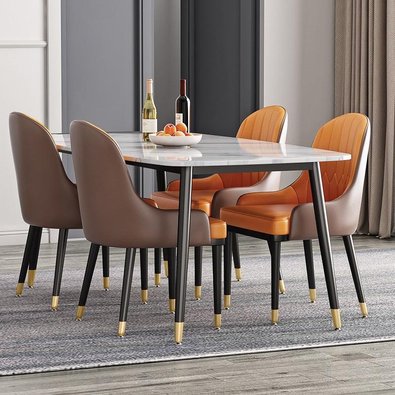 Bộ bàn ăn mặt đá Cremic 4 ghế da Monet có tay BA995