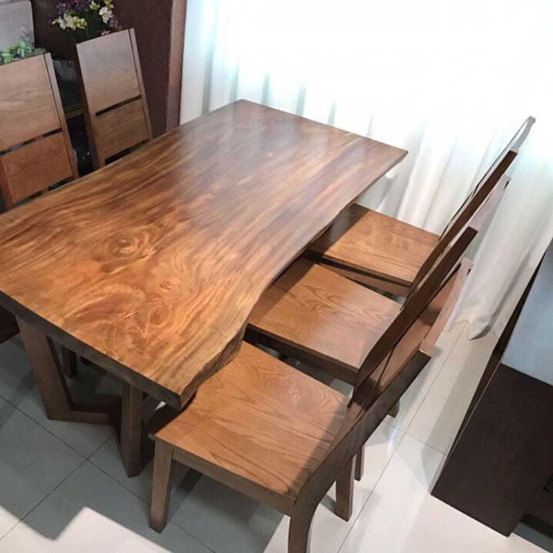 Bộ bàn ăn nguyên tấm gỗ sồi BA688