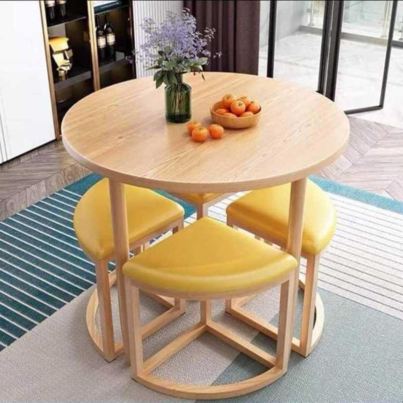 Bộ bàn ghế ăn thông minh tròn xếp gọn đa năng BA680