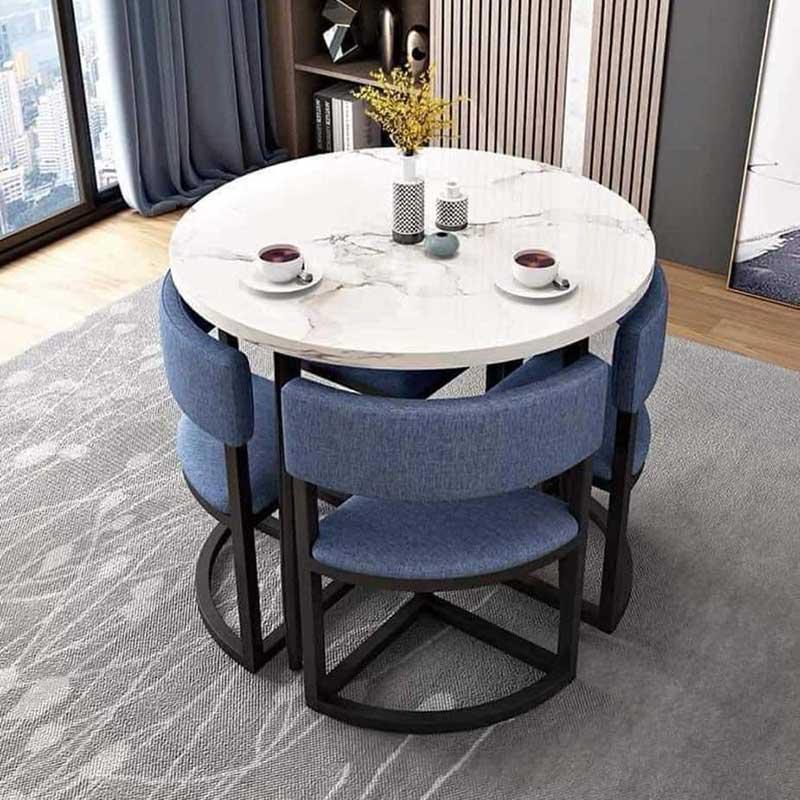 Bộ bàn ghế ăn tròn thông minh xếp gọn, ghế có tựa BA682