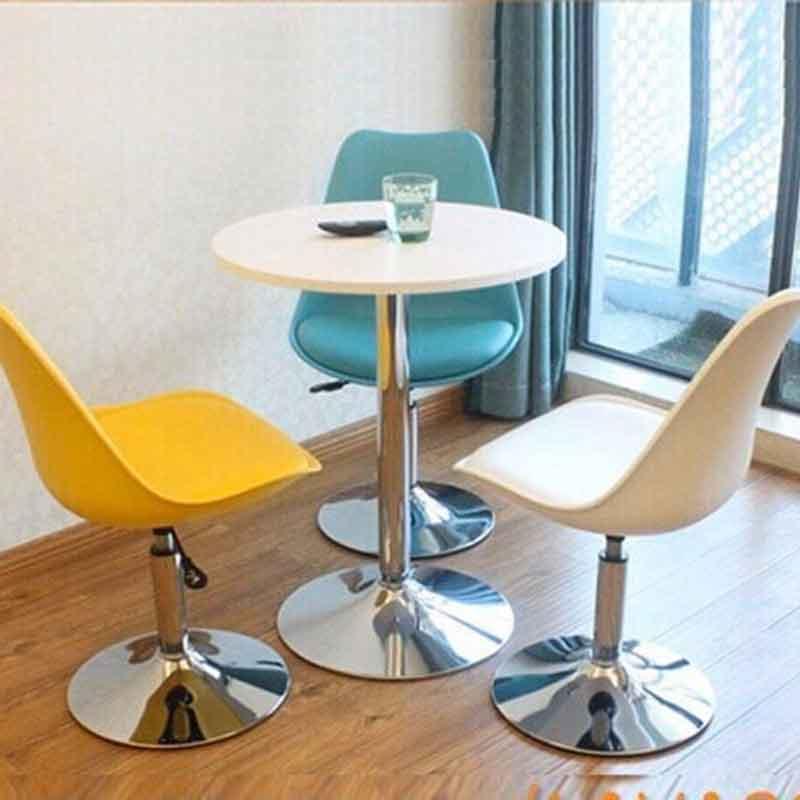 Ghế Bar Cafe mặt nhựa bọc đệm da chân Inox GB223