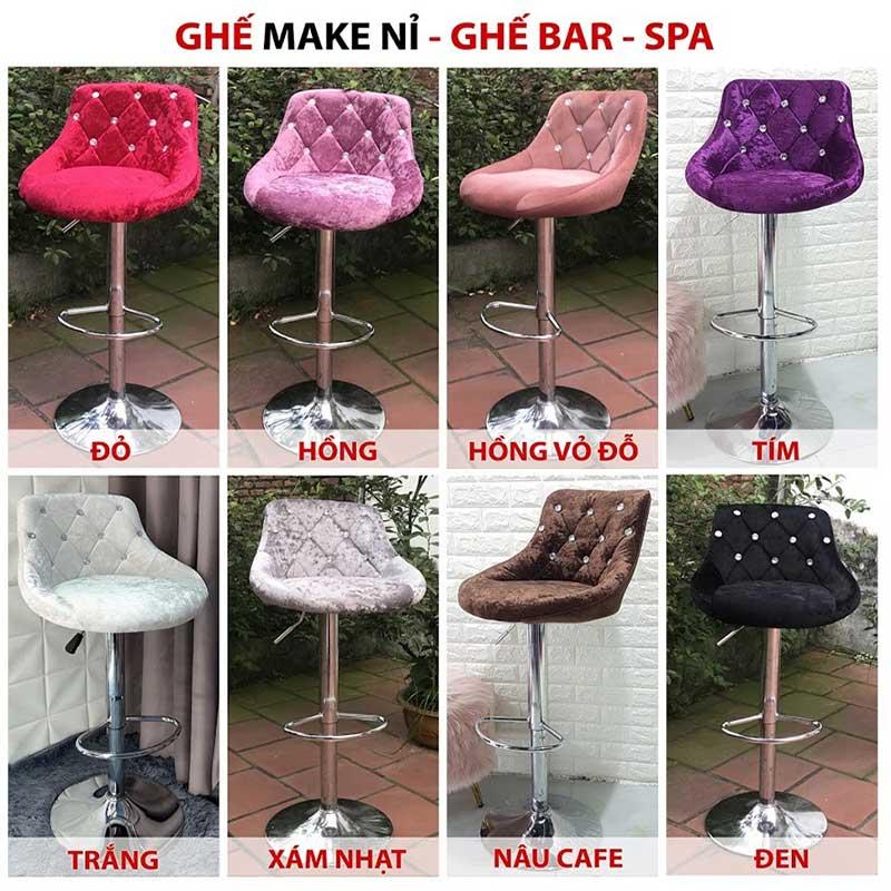 Ghế Bar lưng nệm vải nhung đính cườm, chân Inox GB966
