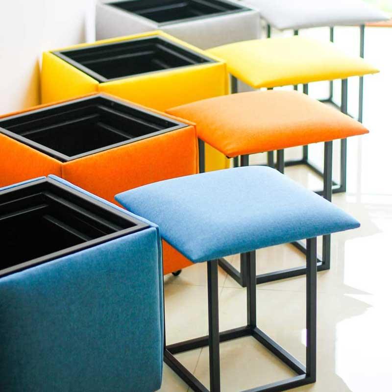 Ghế khối Rubik thông minh, 5 ghế vuông xếp gọn thành 1 GC588