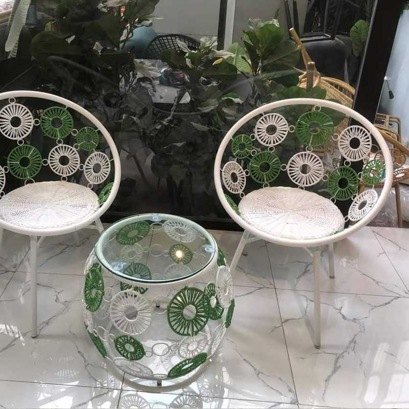 Bàn trà hoa cúc mây nhựa cao cấp đan dây tròn BM268