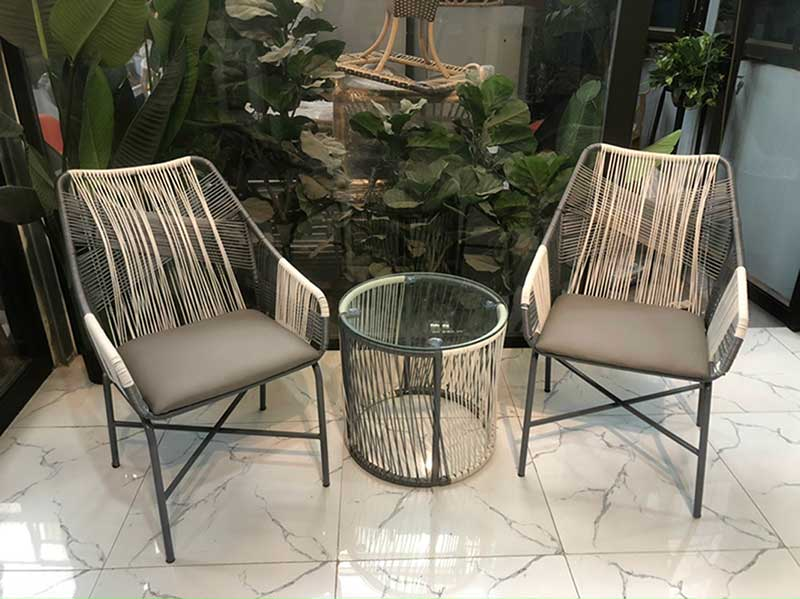 Bộ bàn ghế ban công mây nhựa dây văng đan chéo BM696