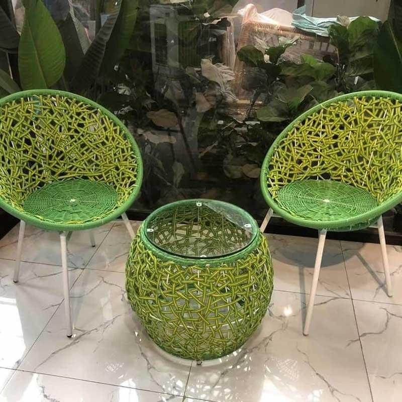 Bộ bàn ghế giả mây đan rối màu xanh lá BM345