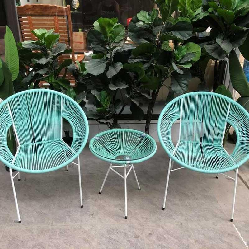 Bộ bàn ghế mây dây văng có tay giá rẻ BM222