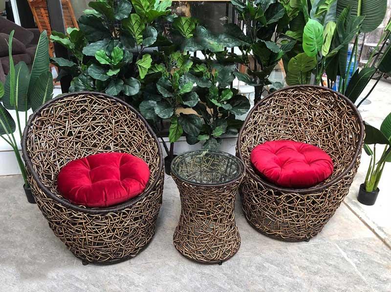 Bộ bàn ghế trứng đan rối 3D nhựa giả mây cho sân vườn BM240