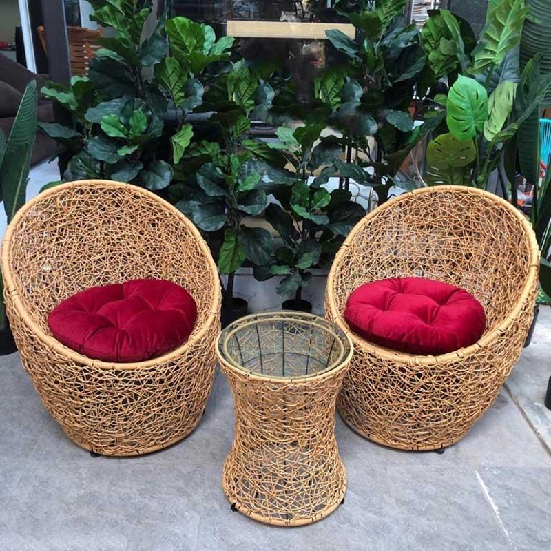 Bộ bàn ghế trứng đan rối mây nhựa cao cấp BM249
