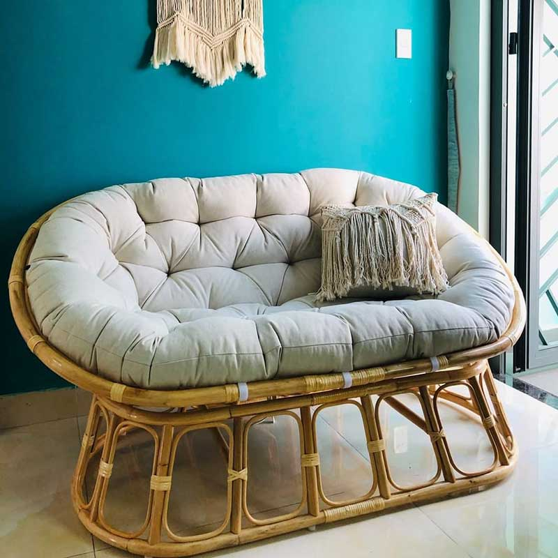 Ghế chảo Papasan đôi mây tự nhiên 100% đệm nhiều màu BM556