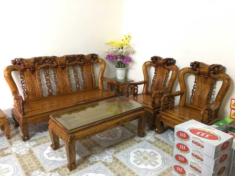 Bộ bàn ghế phòng khách Minh Quốc Đào gỗ Gụ Ta tay 10 BK009