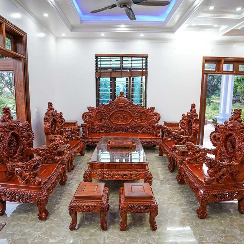 Bộ bàn ghế rồng đỉnh hương đỏ Lào 2m3 cực VIP BK168