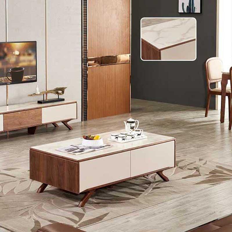 Bàn sofa mặt kính vân mây cao cấp chân gỗ màu óc chó BT685