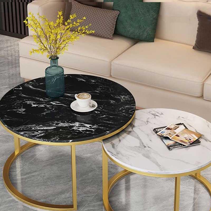 Bàn trà đôi mặt đá tròn phòng khách hiện đại BT977