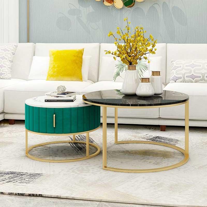 Bàn trà sofa đôi mặt đá Marble tròn tiện dụng BT905