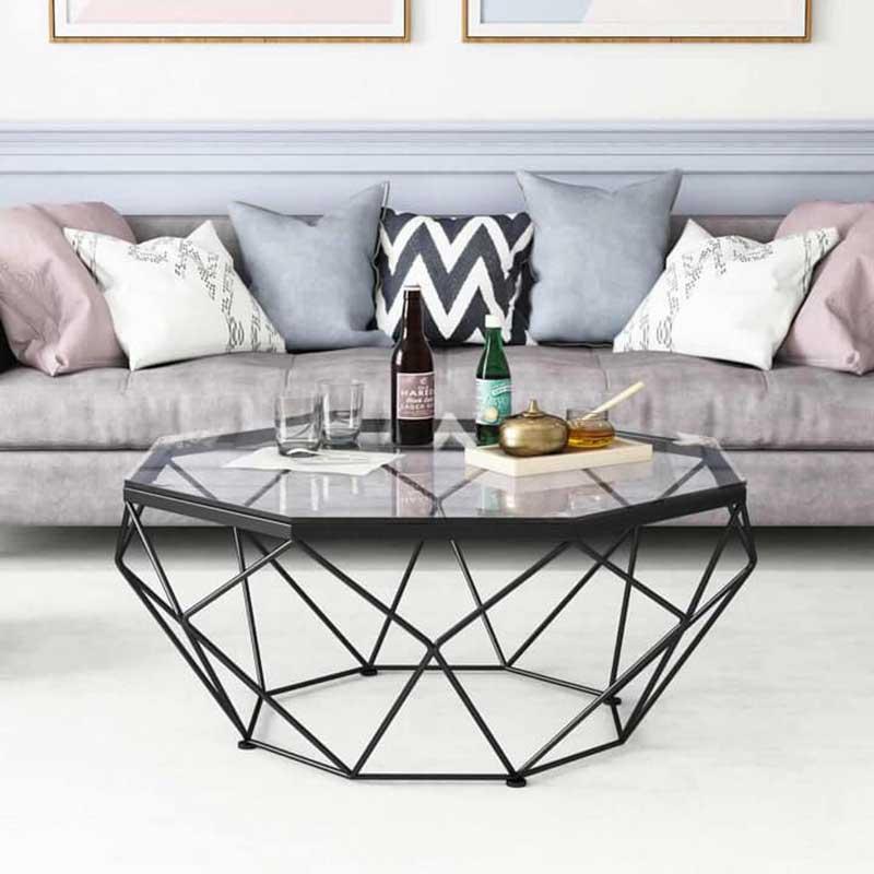 Bàn trà sofa hình kim cương khung thép, mặt kính BT966