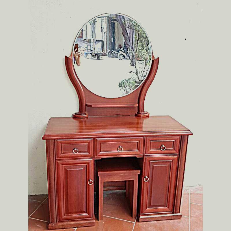 Bàn phấn trang điểm gỗ xoan đào gương tròn BP555