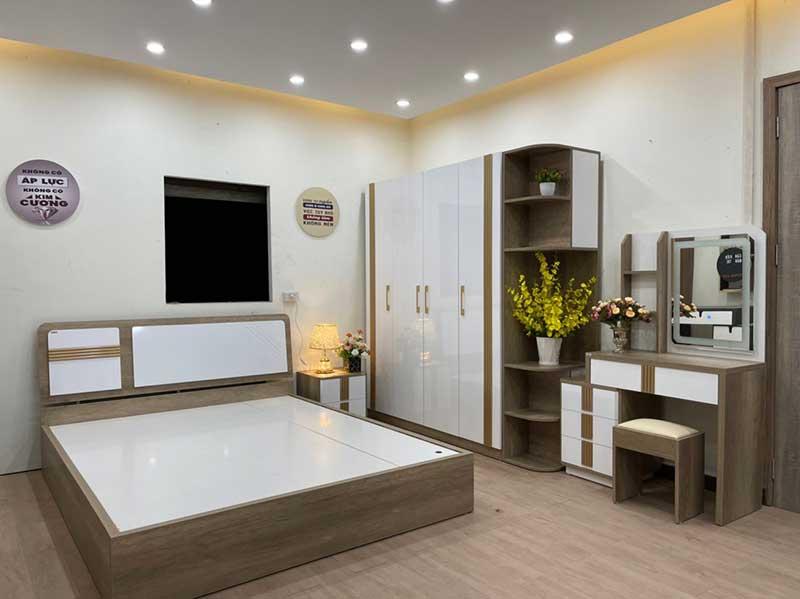 Combo trọn bộ phòng ngủ giường, tủ, bàn phấn, táp GB228