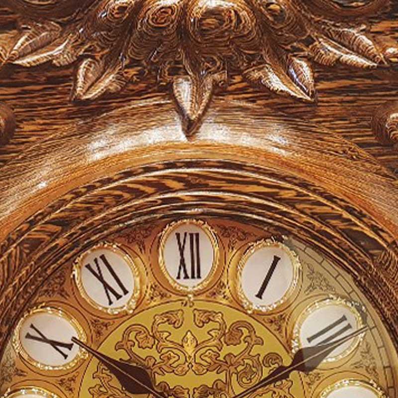 Đồng hồ đứng chạm Hoa Hồng gỗ Mun đuôi công cực đẹp DH588