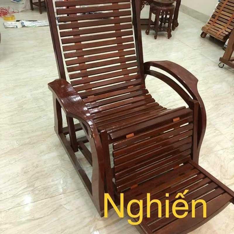 Ghế lười bập bênh gỗ tự nhiên gấp gọn, dây nan GG236