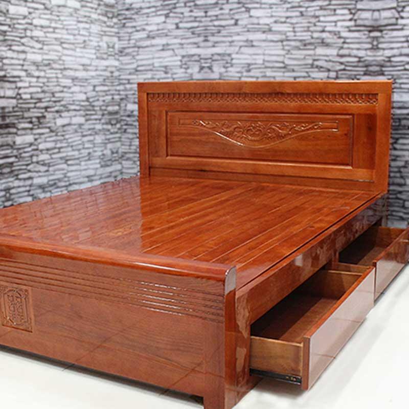 Giường ngủ gỗ xoan đào thang phản 2 ngăn kéo GN082