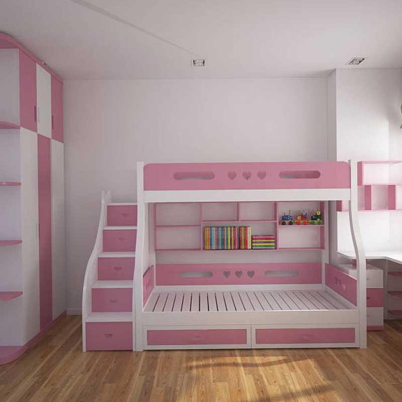 Giường tầng cho bé khung gỗ sồi tự nhiên sơn PU GN422