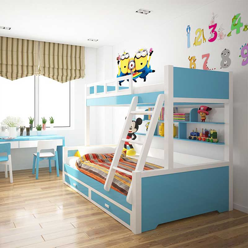 Giường tầng gỗ cho bé kết hợp giá sách tiện dụng GN466