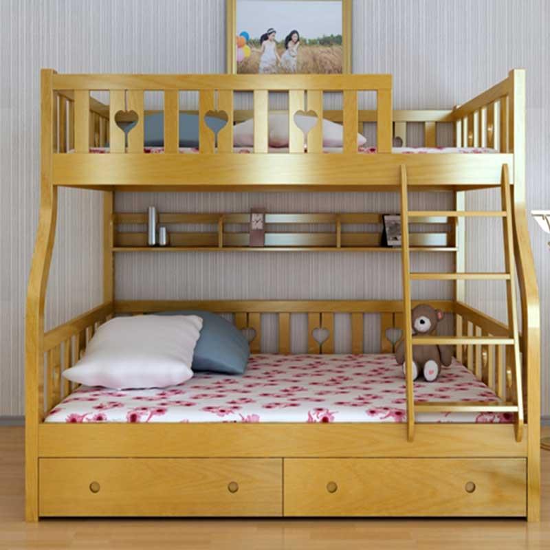 Giường tầng gỗ sồi tự nhiên kèm giá sách GN455