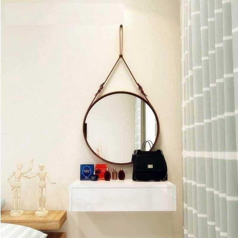 Gương phòng tắm hình tròn dạng treo tường dây da GT066