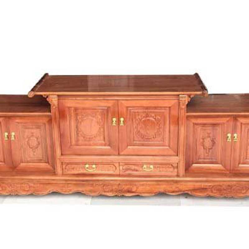 Kệ tivi gỗ xoan đào mẫu giả cổ đẹp KT346