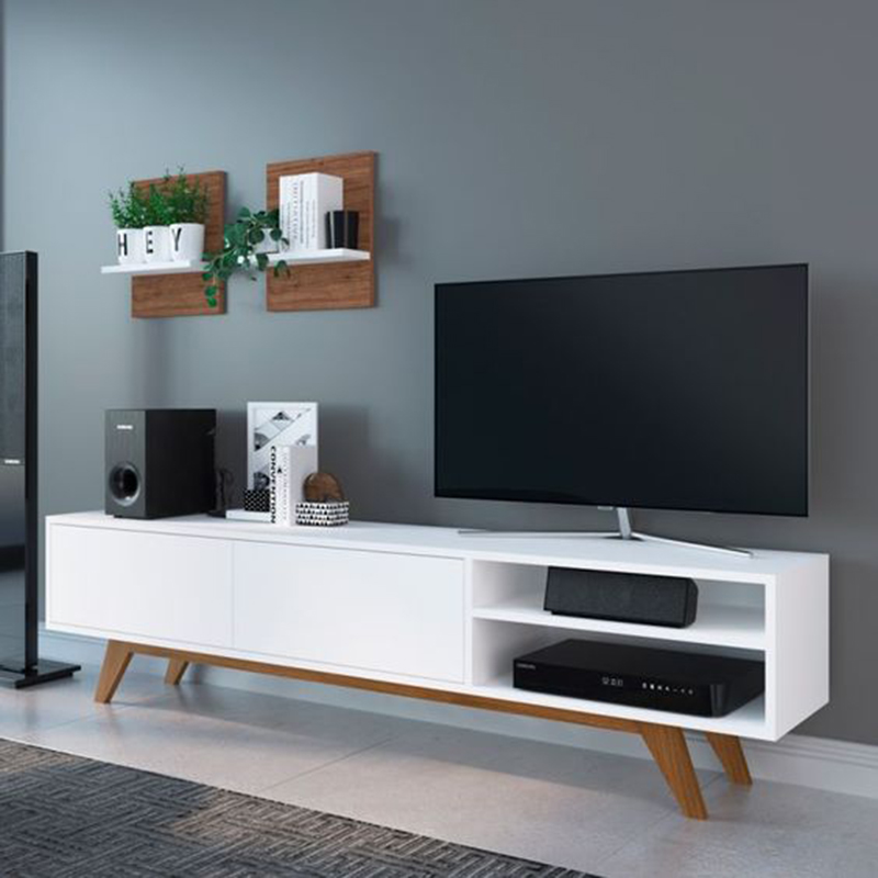 Kệ tivi màu trắng hiện đại đẹp giá rẻ cho phòng khách KT009