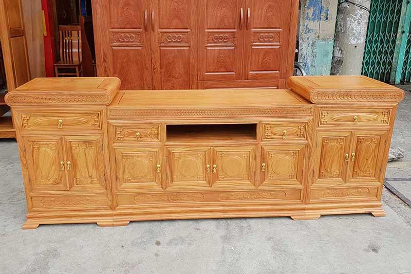 Kệ tivi mõ lõm gỗ gõ đỏ đẳng cấp cho phòng khách KT386