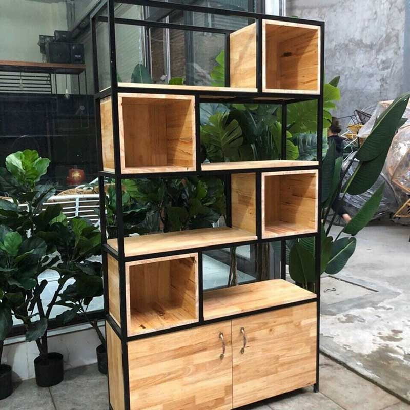 Kệ trang trí Decor kèm tủ đồ mặt gỗ cao su KT228