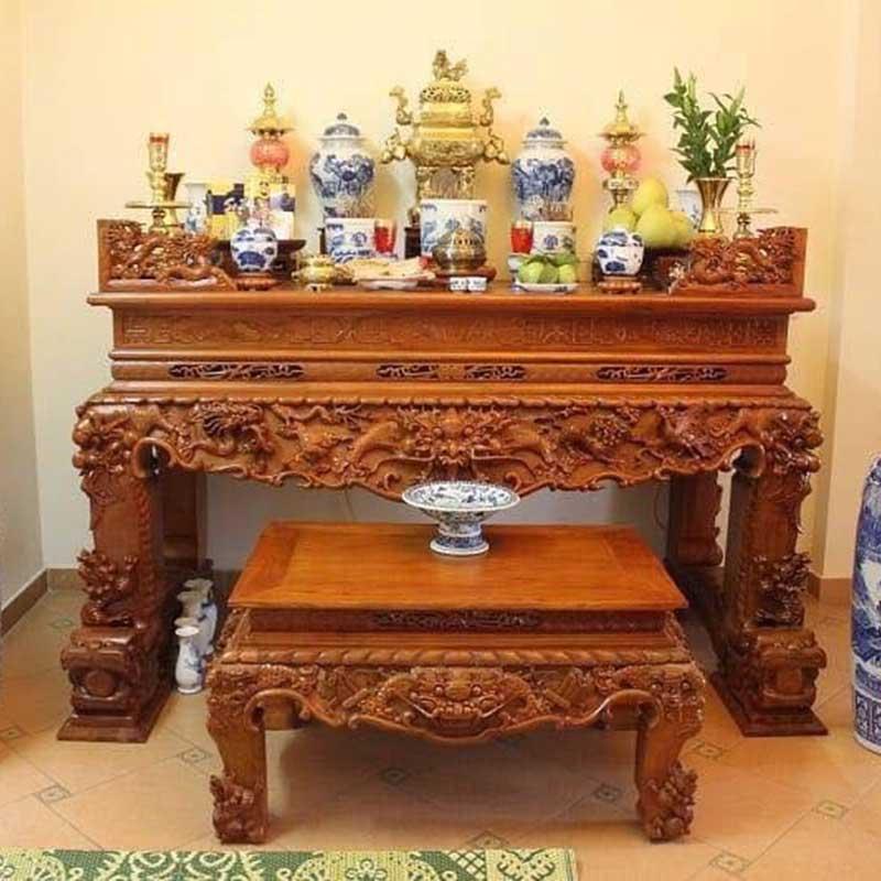 Sập thờ gỗ Gụ trạm Tứ Linh Chân 20 chuẩn phong thuỷ ST868