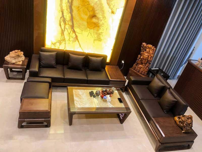 Sofa gỗ Óc Chó cao cấp cho phòng khách SF990