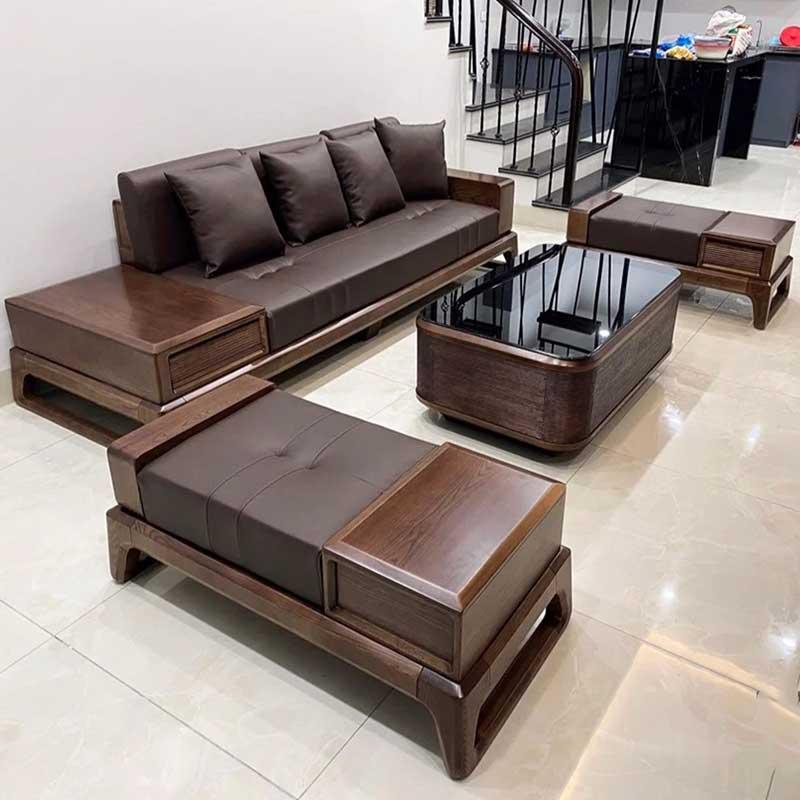 Sofa gỗ óc chó sang trọng cho phòng khách SF090