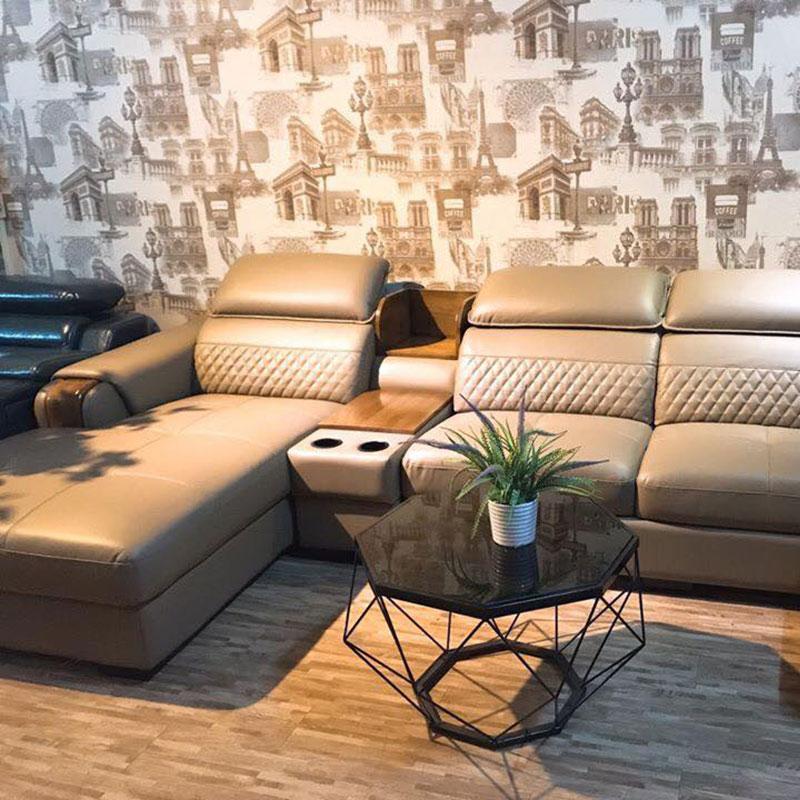 Sofa góc da nhập khẩu tay gỗ mẫu mới 2020 SF694