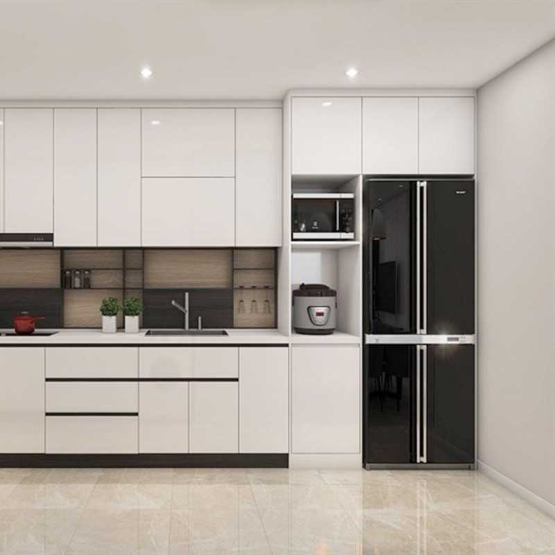 Tủ bếp gỗ công nghiệp phủ Acrylic thiết kế hình chữ I TB522