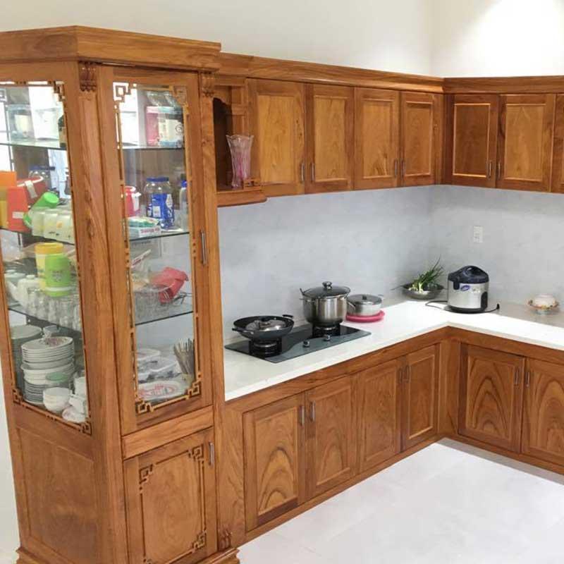 Tủ bếp gỗ óc chó thiết kế theo kiểu chữ I TB678