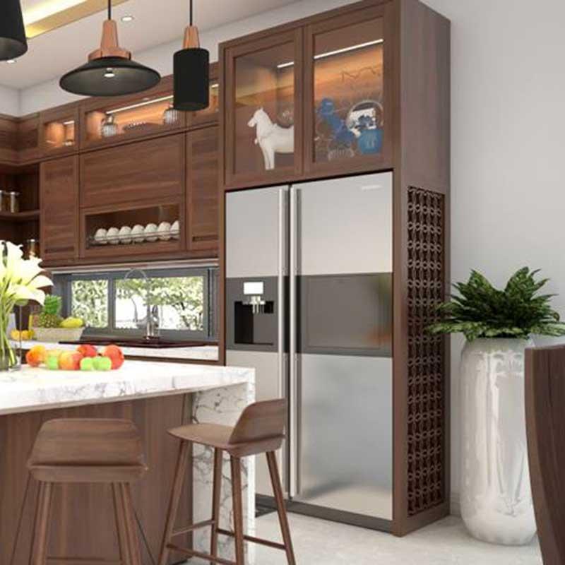 Tủ bếp gỗ óc chó cao cấp hình chữ L TB855