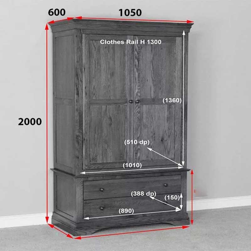 Tủ quần áo 2 cánh gỗ sồi tự nhiên nhập khẩu TQ655