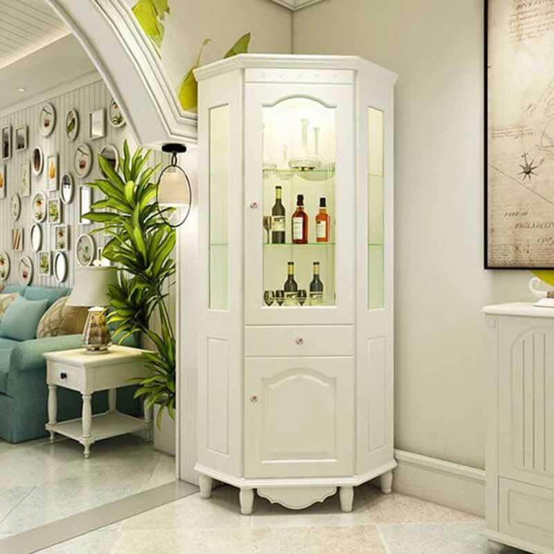 Tủ đựng rượu gỗ công nghiệp sơn PU trắng đẹp thanh lịch TR608