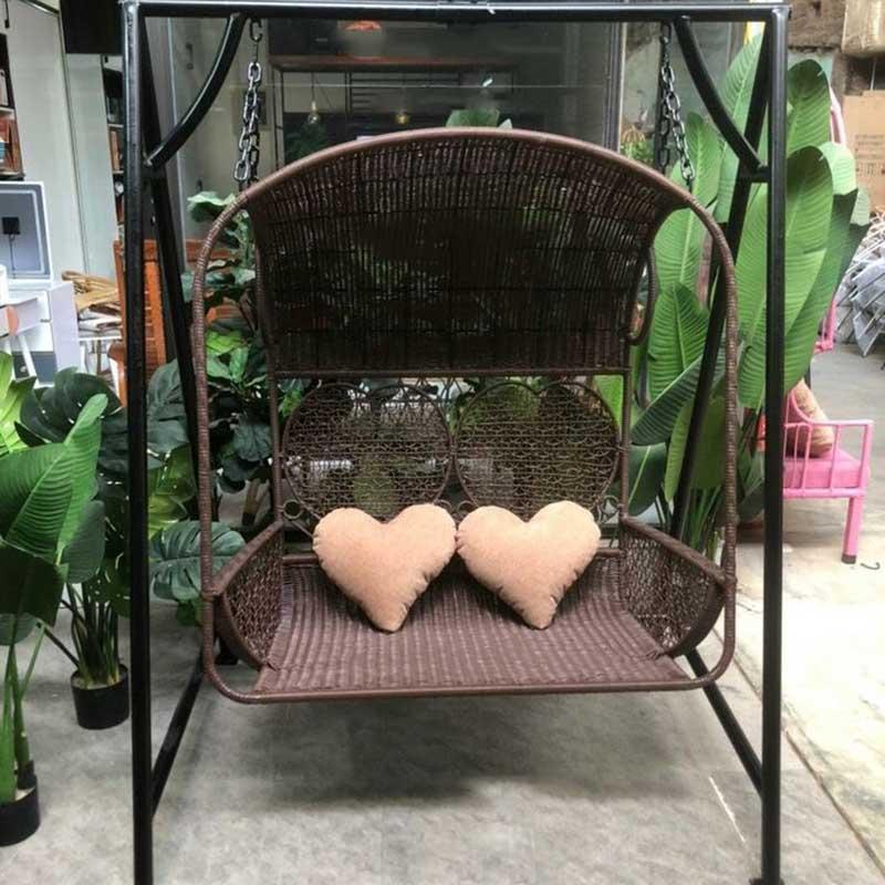 Ghế xích đu đôi cho sân vườn ngoài trời có mái che XD199